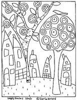 Karla Gerard Rug Hooking Patterns Sketch Coloring Page Colouring Pages, Coloring Books, Karla Gerard, House Quilts, Happy House, Rug Hooking, Pattern Paper, Paper Patterns, Painting Patterns