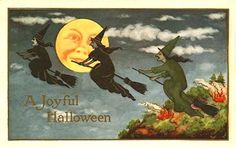 1914 Whitney Made Halloween postcard three witches man-in-the-moon fires, lovely Retro Halloween, Vintage Halloween Cards, Victorian Halloween, Halloween Prints, Halloween Pictures, Fall Halloween, Happy Halloween, Halloween Ideas, Halloween Decorations