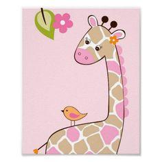 animal nursery girl | Girl Giraffe Jungle Animal Nursery Wall Art Print | Zazzle.co.uk