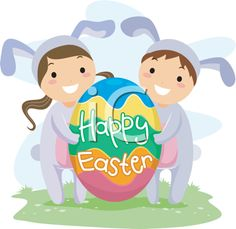 iCLIPART - Clip Art Illustration of Kids Carrying a Large Easter Egg