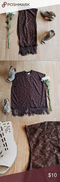 ▪️Charming Charlie Brown Lace/Fringe Vest▪️ ▪️Product Description▪️ ▫️Boho vibes with this chestnut brown lace and fringed top  ▫️Perfect over a neutral colored tank top or a dress/skirt  ▪️Fit: Oversized and flowing fit (small-medium)  ▪️Condition: NWOT  ▪️Measurements: Approx/Laying Flat  ▫️Length (w/o fringe)- 25 inches  ▫️Length (w/fringe)- 30 inches  ▫️Waist- 21.5 inches Charming Charlie Tops