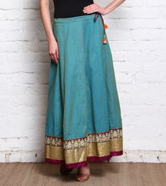 Turquoise Embroidered Pure Cotton Skirt