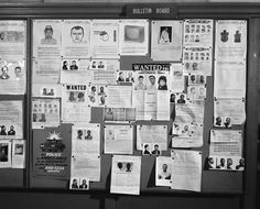 May 4, 1965: Bulletin board in the detective bureau of the 28th Precinct, West 123rd Street, Manhattan. This photo ran beside a 1966 article that explored the debate — raging at the time, soon after a decision from the landmark Supreme Court case Miranda v. Arizona was handed down — over confession and a suspects protections against self-incrimination. Photo: Sam Falk/The New York Times