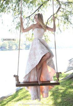 Floral Lace Sherri Hill 51252 Strapless Hi Lo Prom Dress Ivory