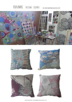 cojines pintados a mano, uno a uno... encargos: lajirafa@lajirafaproyectos.com