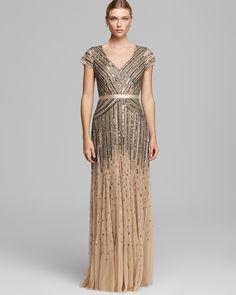 db7b41189446 Adrianna Papell Dress - V Neck Cap Sleeve Beaded Women - Bloomingdale s. Long  DressesEvent DressesWedding ...