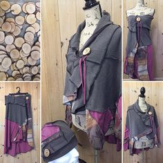 women's earthy poncho recycle remade t-shirts  one of a