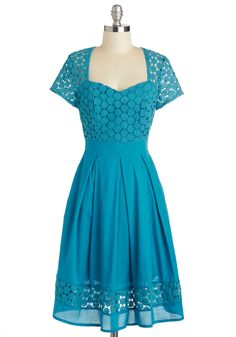 Recitation Ready Dress - Cotton, Sheer, Long, Blue, Solid, Crochet, Pleats, Pockets, Daytime Party, A-line, Short Sleeves, Sweetheart, Vintage Inspired, 40s, 50s