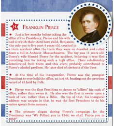 Over 100 Fascinating Facts About U.S Presidents Past and Present : Facts About US Presidents Franklin Pierce Check out of this post here. Us History, History Facts, American History, President Quotes, Our President, President Facts, Presidents Wives, American Presidents, Presidential History