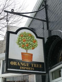 Orange Tree Imports, Madison, WI had this sign created by traditional British pub sign painters in the 1980s.