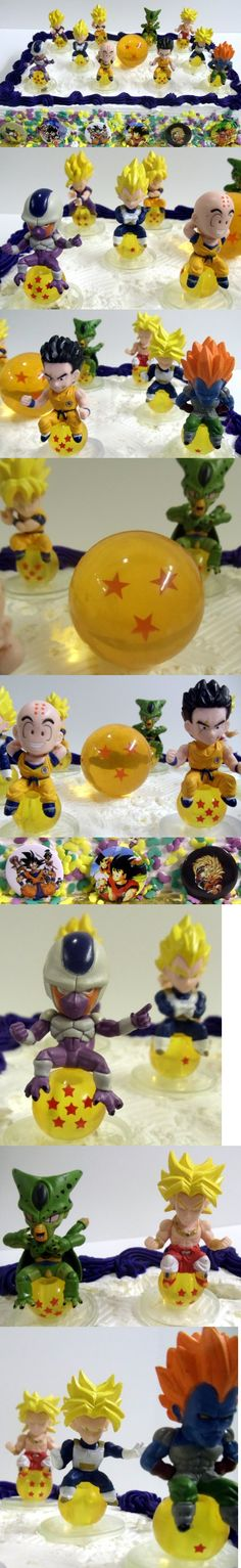 Unique Dragon Ball Z 17 Piece Birthday Cake Topper Featuring 10 Different Characters From The Dragon Ball Z World Sitting On Dragon Ball Z Crystal Balls, 1 Random Large Dragon Ball Z Crystal Ball, And 6 Dragon Ball Z Buttons - Cake Supplies - Toys - $29.99