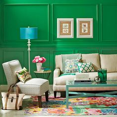 BHG green with aqua lamp. if they do it, then I can use aqua wall color with mint tiles in bathroom