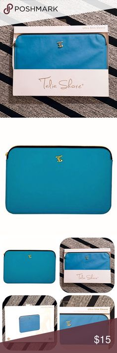 """💰💵BLACK FRIDAY SALE $8 TIL MIDNIGHT (PST) 💵💰 Bright blue, textured vinyl & padded ultra-slim laptop case made by Talia Shore. Case has a gold zipper around the top, and is lined with golden yellow fabric. Fits the 11"""" MacBook Air, or any laptop with an 11"""" screen. Dimensions of product are as follows: 14"""" x 12"""" X 1"""" and is brand new in original packaging. *Free expedited shipping on all orders thru P🅰️yP🅰️L!!! Talia Shore Accessories Laptop Cases"""