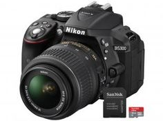 """Câmera Digital Nikon D5300 24.2MP - LCD 3.2"""" Giratório Filma Full HD + Cartão 16GB"""