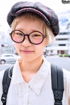 Round Glasses & Newsboy Hat in Harajuku