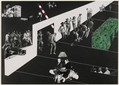 Rem Koolhaas and Elia Zenghelis with Madelon Vriesendorp and Zoe Zenghelis, Exodus, or the Voluntary Prisoners of Architecture: The Reception Area, 1972