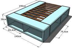 простая кровать чертеж