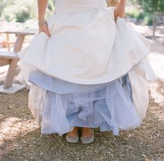 bride with a blue petticoat under her wedding dress!  A great way to incorporate the Irish tradition of 'blue' for a bride but still wear white!