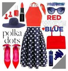 """""""polka dots blue red"""" by jk802 ❤ liked on Polyvore featuring Chico's, Chicwish, Boohoo, Oscar Tiye, Esin Akan, Obsessive Compulsive Cosmetics, Tory Burch, Christian Dior, Smashbox and Anya Hindmarch"""