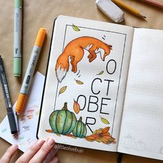 art journal OCTOBER IS HEREE and i really couldnt wait to share my cover with you guys! It will be a pretty busy month for me and i am quite happy! Bullet Journal Cover Ideas, Bullet Journal Monthly Spread, Bullet Journal 2020, Bullet Journal Notebook, Bullet Journal Inspo, Bullet Journal Layout, Journal Covers, Art Plastic, Autumn Doodles