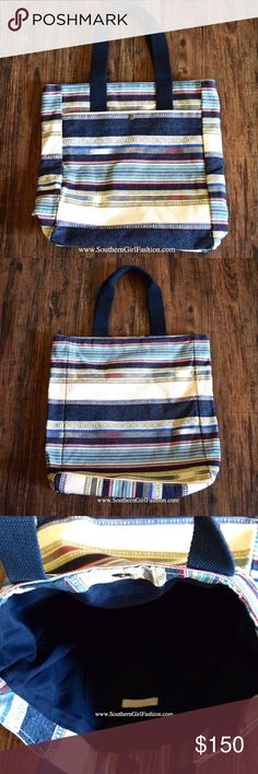 """STRIPED TOTE Chic Bohemian Carryall Book Large Bag One Size. New with tags.   - Beautiful shoulder bag featuring striped panel  detailing and easy, laid-back vibe.  - The perfect travel companion. - Front pocket with inner snap closure and two top handles.  - Interior pockets. Very spacious!    Cotton, Polyester.  Imported.     {Southern Girl Fashion - Closet Policy}   ✔Bundle discount: 20% off 3+ items.   ✔️ Reasonable offers are considered when submitted using the """"offer"""" button.   ❌ No…"""