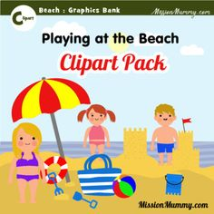 Graphics pack : Beach by MissionMummy Beach Clipart, Teacher Newsletter, Preschool, Packing, Language, Clip Art, Printables, Graphics, Education