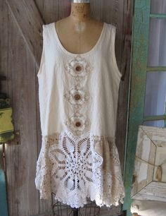 tunic dress jumper washed linen in ivory with vintage crochet lace one of a kind. $155.00, via Etsy.
