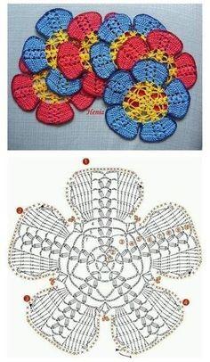 Crochet sunflower doily / Lace / Yellow with black or brown / inches cm), Col Crochet, Crochet Mandala Pattern, Crochet Square Patterns, Crochet Motifs, Crochet Diagram, Crochet Dollies, Crochet Chart, Crochet Squares, Thread Crochet