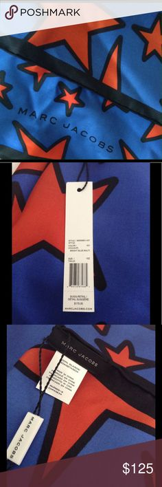 """NWT Marc Jacobs """"Stars"""" silk scarf Vibrant colors in a beautiful silk scarf.  Square in size approx 36x36. Marc Jacobs Accessories Scarves & Wraps"""