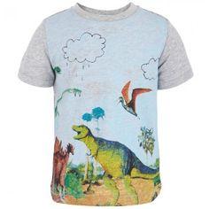 Stella McCartney Kids Grey Dino Print Tee