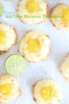 Super chewy Coconut Macaroons with homemade Key Lime Curd filling! Key Lime Macaroon Thumbprints!! Lime Recipes, Coconut Recipes, Coconut Desserts, Profiteroles, Delicious Desserts, Dessert Recipes, Yummy Food, Tasty, Toffee