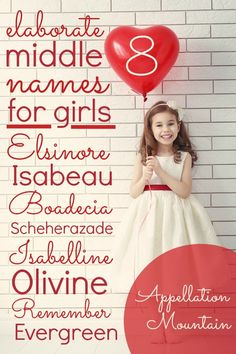 Looking for unexpected middle names for girls? If you love long middle names, this list of elaborate - and rare! - middles could be for you. Long Girl Names, Baby Girl Middle Names, Cute Girl Names, Baby Girl Names Unique, Beautiful Girl Names, Cute Baby Girl, Boy Names, Unique Middle Names, Baby Family