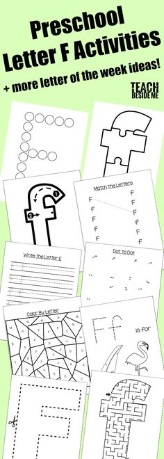 Preschool Letter F Activities: letter of the week with printables, books, crafts, snacks, and more! Letter F Craft, Preschool Letters, Preschool Curriculum, Alphabet Activities, Kindergarten Activities, Classroom Activities, Homeschool, Early Learning, Fun Learning