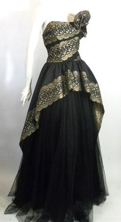 Black and gold reverse weave taffeta and tulle late 40s evening gown.