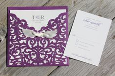 TARA - CUSTOMIZED SAMPLE Elegant Laser Cut Shimmering Purple Gold or Navy Pocket with Cream Bow Wedding Invitation includes reply card