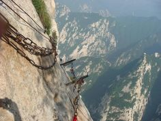 The only way to the top. lol Mount Hua, China. #climbing #climbmountains #outdoors  #travel www.amazon.com/shops/Mountaintop-Outdoor-Equipment