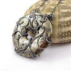 Wire wrap necklace bold statement jewelry  by MadeBySunflower, $240.00