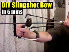 DIY Slingshot Bow In 5 mins, prepping, shtf, diy, how to, security, hunting,preparedness,frugal,slingshot,survival,shtf gear,teotwawki,