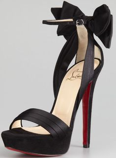 565213bee Christian Louboutin Vampanono Bow Red Sole Sandal in Black. Curvy Petite FashionBlack  High HeelsHigh ...