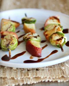 grilled brussel sprouts and apple skewers | easy #Thanksgiving #appetizers