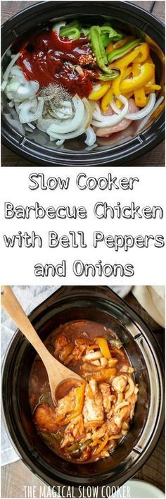 Slow Cooker Barbecue Chicken with Bell Peppers and Onions Crock Pot Recipes from Whatcha Crockin Crockpot Dishes, Crock Pot Slow Cooker, Crock Pot Cooking, Slow Cooker Chicken, Slow Cooker Recipes, Crockpot Recipes, Cooking Recipes, Easy Recipes, Chicken Recipes