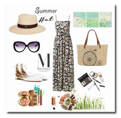 """summer hat"" by caroowcastillo ❤ liked on Polyvore featuring WithChic, Estée Lauder, Barton Perreira, Aquazzura, Maison Michel, Straw Studios, Borghese and summerhat"