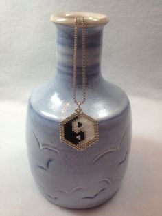 Brick Stitch YinYang Beadwoven Pendant by BeadingBeeCreations, $15.00