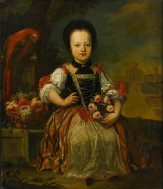 AUSTRIAN SCHOOL (18th century)/span PORTRAIT OF A GIRL HOLDING A FLORAL GARLAND;