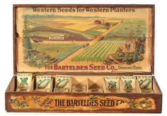 19.5 x 28.75 x 14.5″ large, early wooden country store display box for Barteldes Co.'s Western brand seeds, w/ a beautiful multi-color graphic fancy western farm scene image on inside label and eight partitioned areas for seed packets to be organized each of which has a lovely image of the crop on the front.