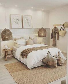 Room Ideas Bedroom, Home Decor Bedroom, Tan Bedroom, Beige Bedrooms, Neutral Bedroom Decor, Neutral Colored Bedroom, Bedroom Colors, Bedroom Decor Natural, Ikea Boho Bedroom
