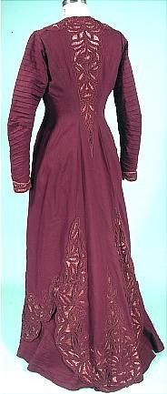 c. 1908-1909 Dark Burgundy Wool and Coral Satin Cutwork Trained Afternoon Gown with photo of the Original Owner, Ione Fischer of Palo, Illinois. Back