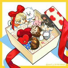 Jikook Fanart (bonus RJ, Cooky and Tata) Jikook, Kawaii Chibi, Cute Chibi, Vocaloid, Cute Drawlings, Fanart Bts, Seokjin, Hoseok, Chibi Food