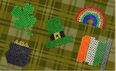 St Patricks Day Melty Bead Shapes: Shamrock, Leprechaun Hat, Pot of Gold, Irish Flag, Rainbow  #kids #craft