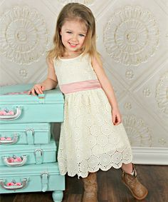 This Designs by Meghna Ivory & Pink Eyelet Sash Dress - Toddler & Girls by Designs by Meghna is perfect! #zulilyfinds